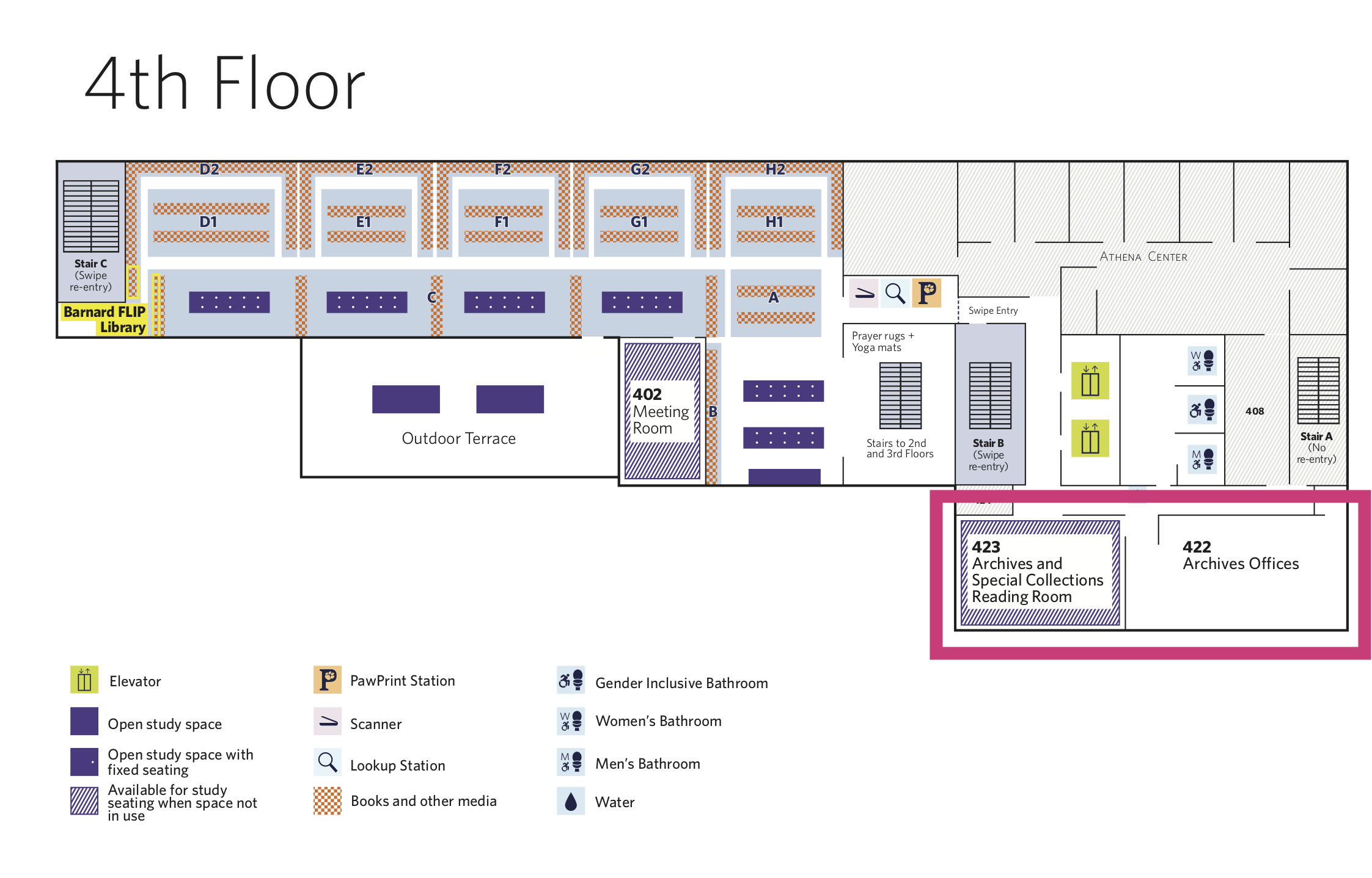 Floor 4 library map, view text below for accessible version